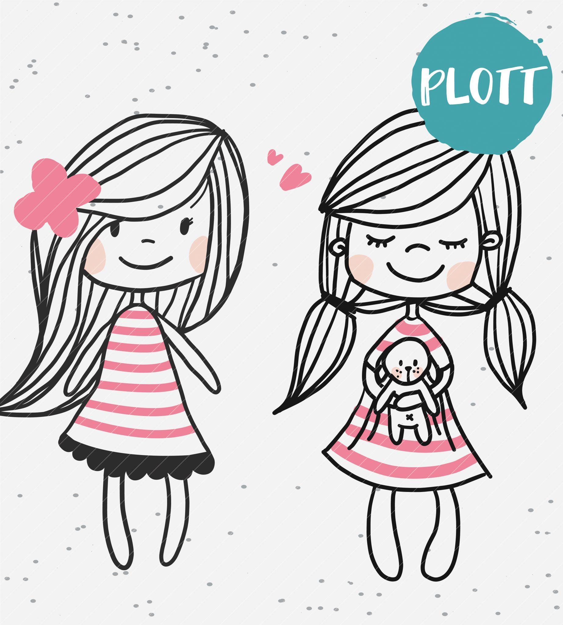 plottervorlage sweetgirls  süße tiere zeichnen