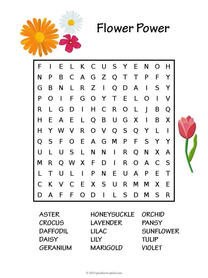 Free Printable Flower Word Search Activity Sheets Flower Words