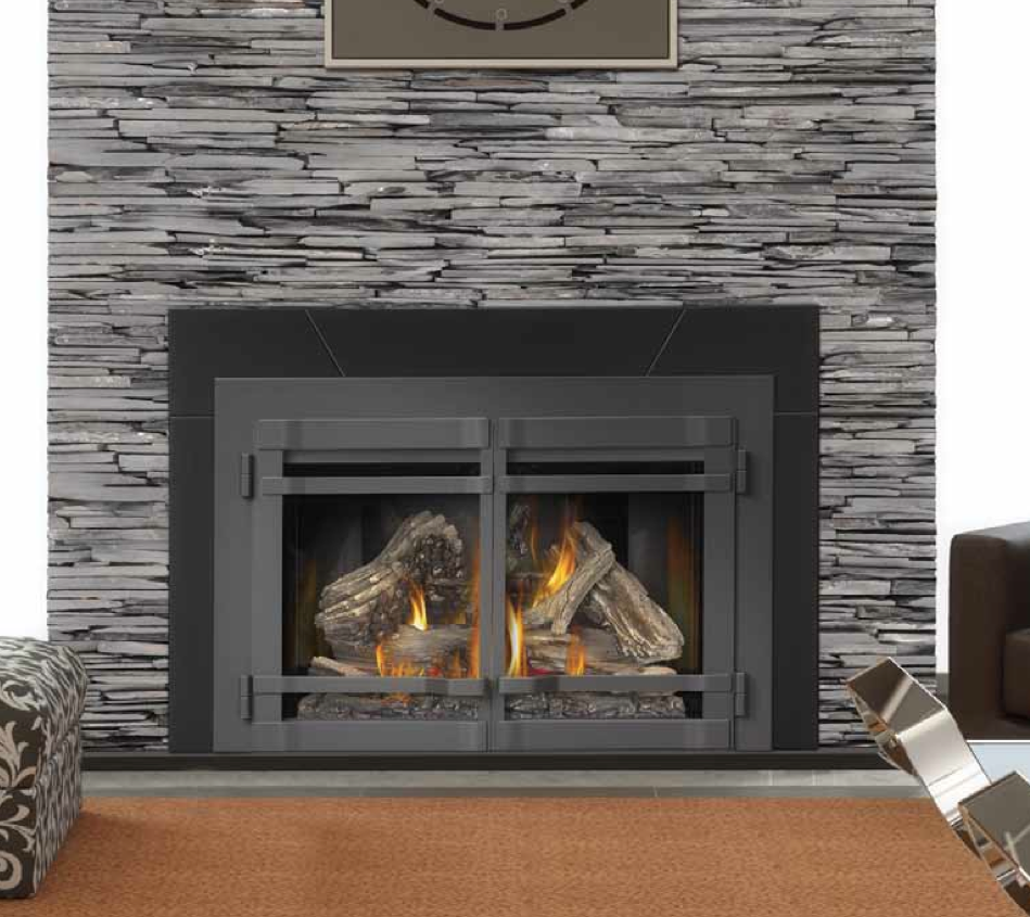 I Like The Look Of The Gray Black Rock Around The Fireplace Gas Fireplace Insert Natural Gas Fireplace Fireplace Inserts