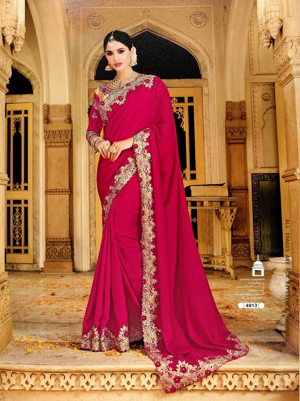 67232f61bde55e Fabric Silk Color Magenta, Pink Work Laser Cut Embroidery,  Resham-Embroidery, Stone