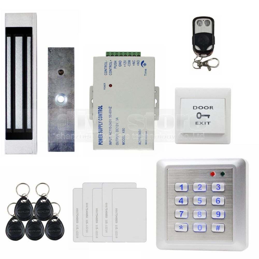 Diysecur Waterproof 125khz Rfid Reader Keypad Access Control System Magnetic Lock Remote Control Full Kit Set For House Offi Security Protection Magne