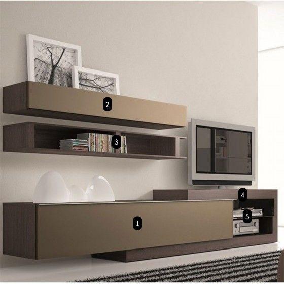 Meuble TV design taupe Neva ATYLIA - Meuble TV design wengé nanou
