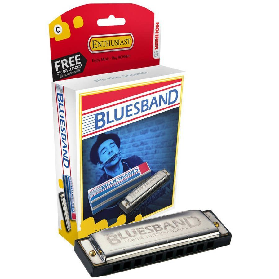 Hohner Blues Band Harmonica in Key of C Products Blue