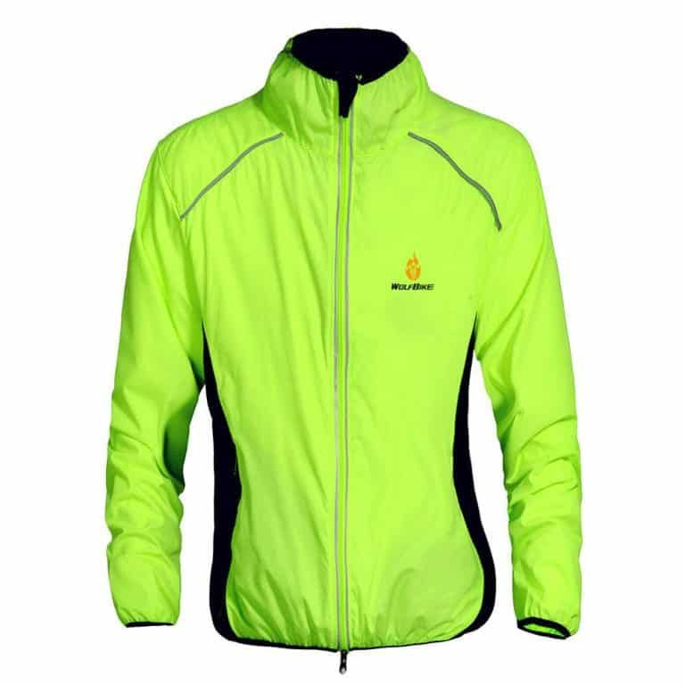 Wolfbike Fleece Thermal Cycling Jacket Jersey Long Sleeve Windproof UV-Protect Coat Green