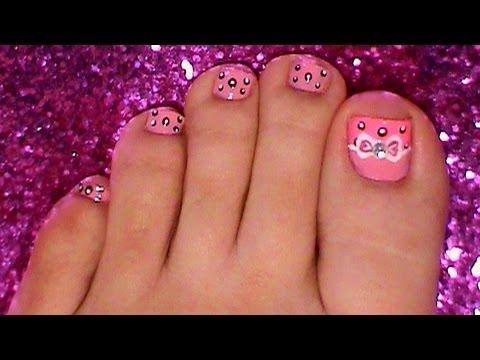easy bow toe nail art design tutorial