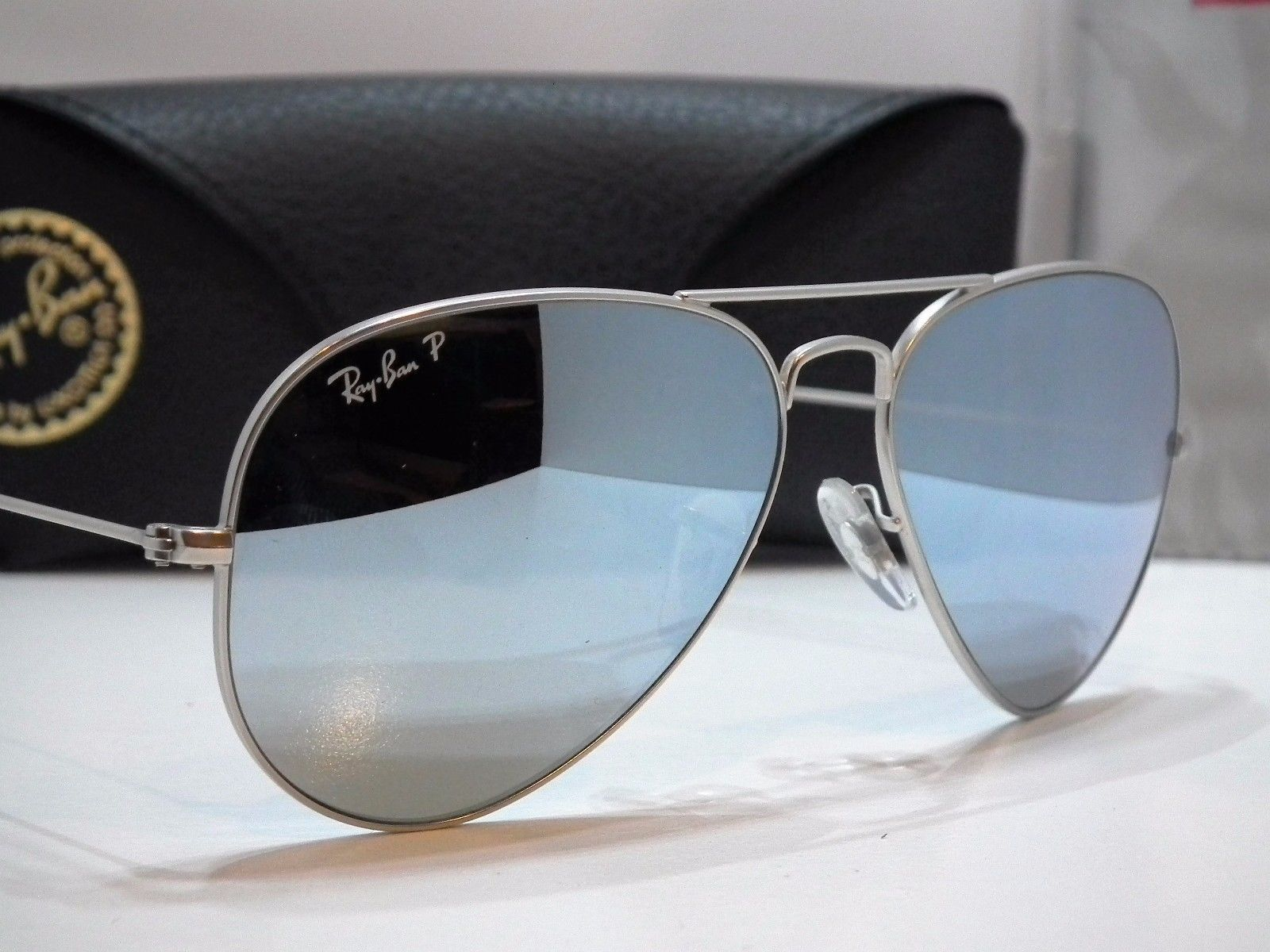 authentic ray bans for cheap  Authentic Ray-Ban RB 3025 019/W3 Silver Flash Aviator Polarized ...