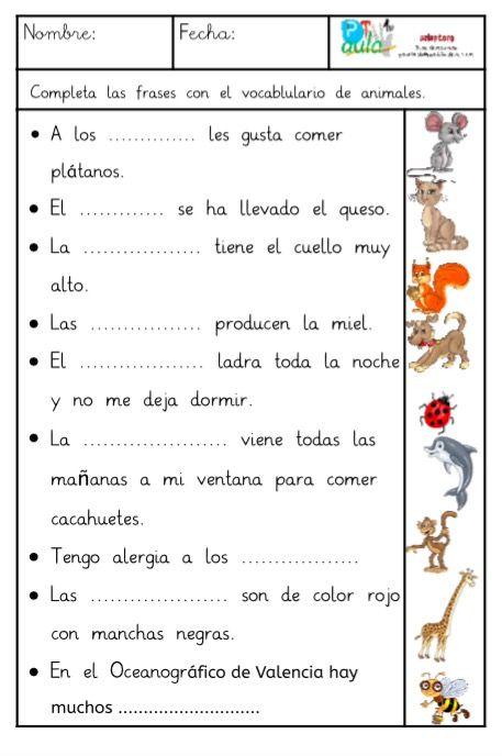 COMPRENSIÓN LECTORA DE FRASES CON EL VOCABULARIO DE LOS ANIMALES ...