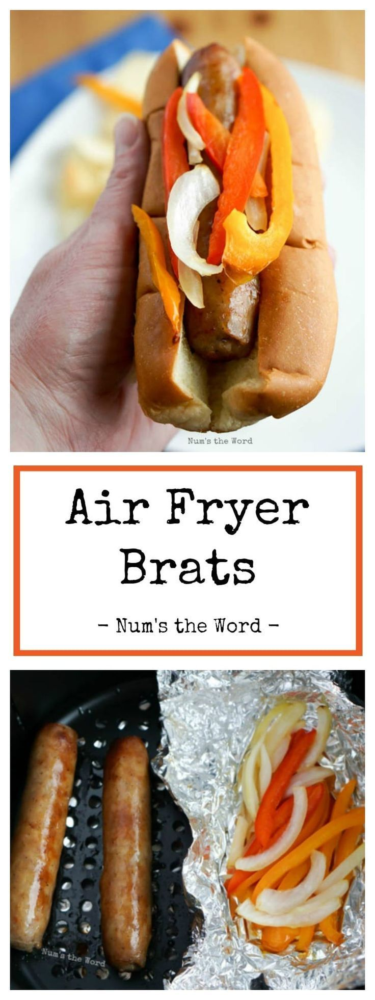 Fryer Brats with onions and bell peppers are made entirely in the Air Fryer.  In less than 20 Minutes you'll have perfectly cooked brats that are juicy and ready to pop in your mouth!  Perfect for when you don't want to heat up the grill!