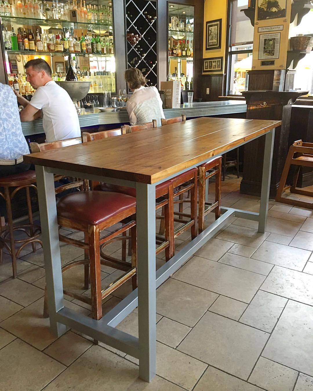 Bar height table with metal legs  | kitchen/dining room ...