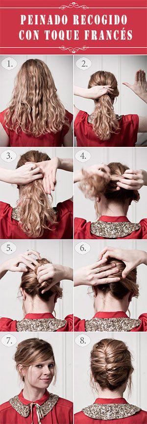 Peinado recogido en frances