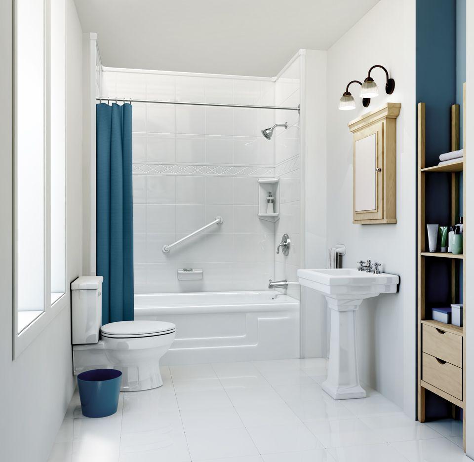 This Design Evokes The Sea With Neutrals And Deep Blue Tones Bath Fitter Bathtub Remodel Diy Bathroom Remodel