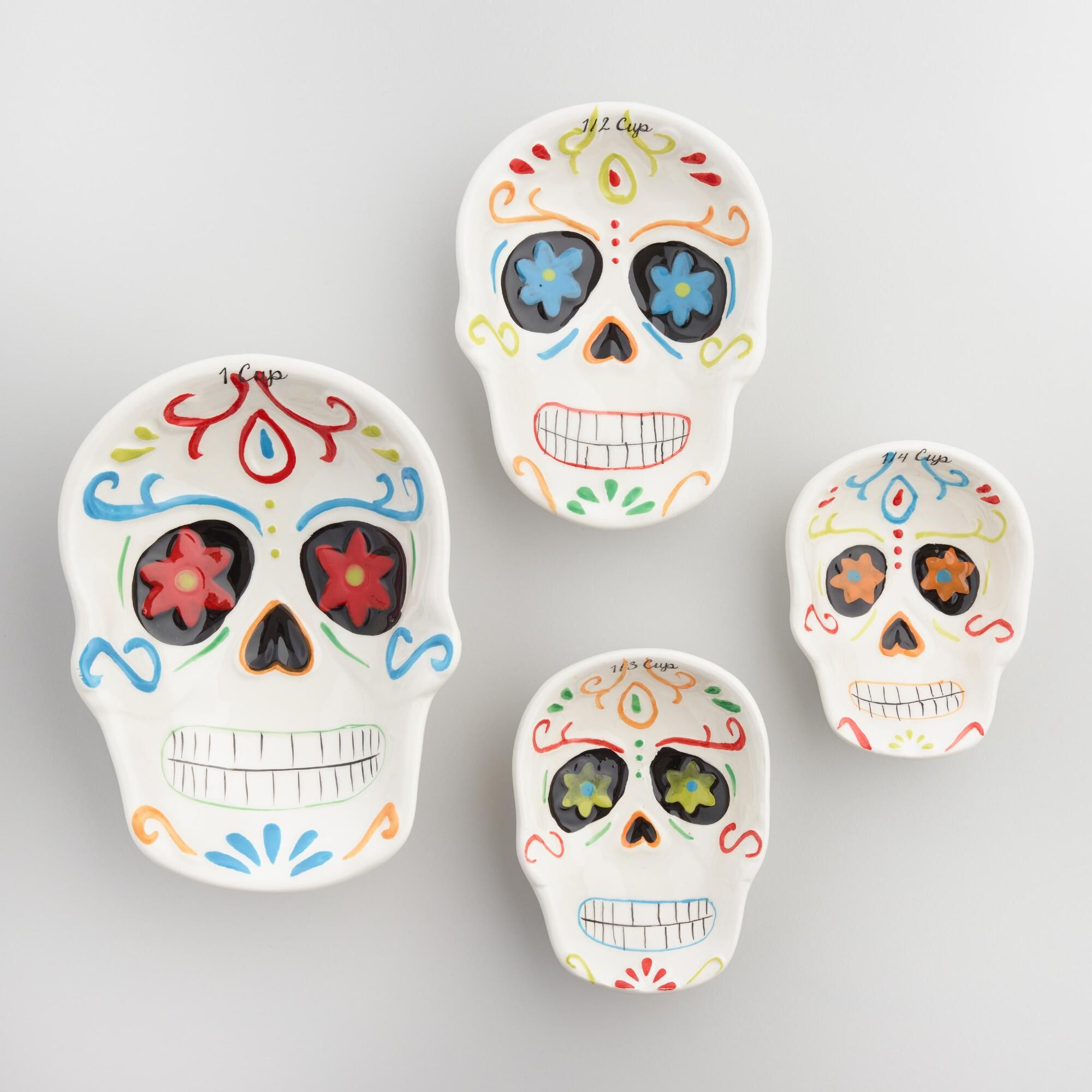Our Ceramic Measuring Cups Are Shaped Like Skulls Each One Colorfully Embellished With Bright Artwork To Celebrate Sugar Skull Decor Rock Decor Bright Artwork