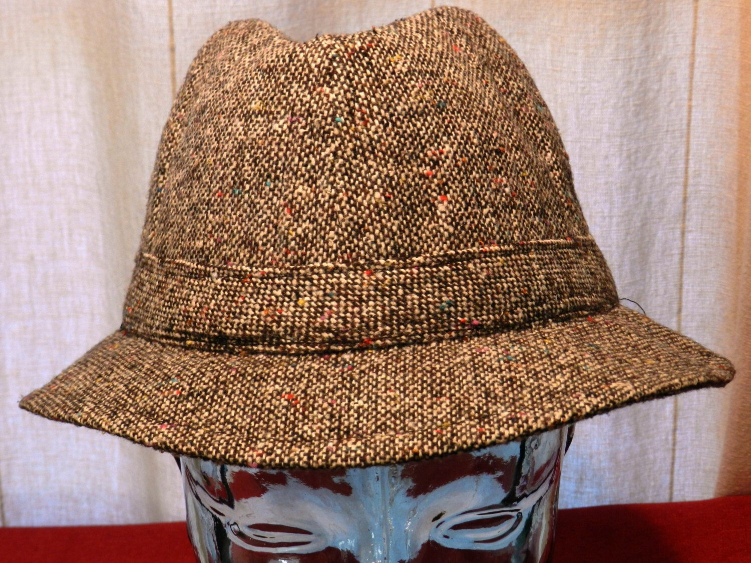 8f5ae67190a36 Vintage Tote s Brown Tone Tweed Fedora Rain Hat Size Medium 00657 by  NWAttic on Etsy https