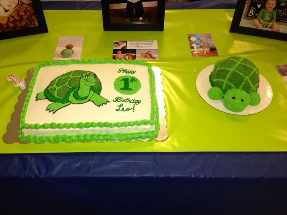 1st birthday cake and turtle shaped smash cake Cakes Pinterest