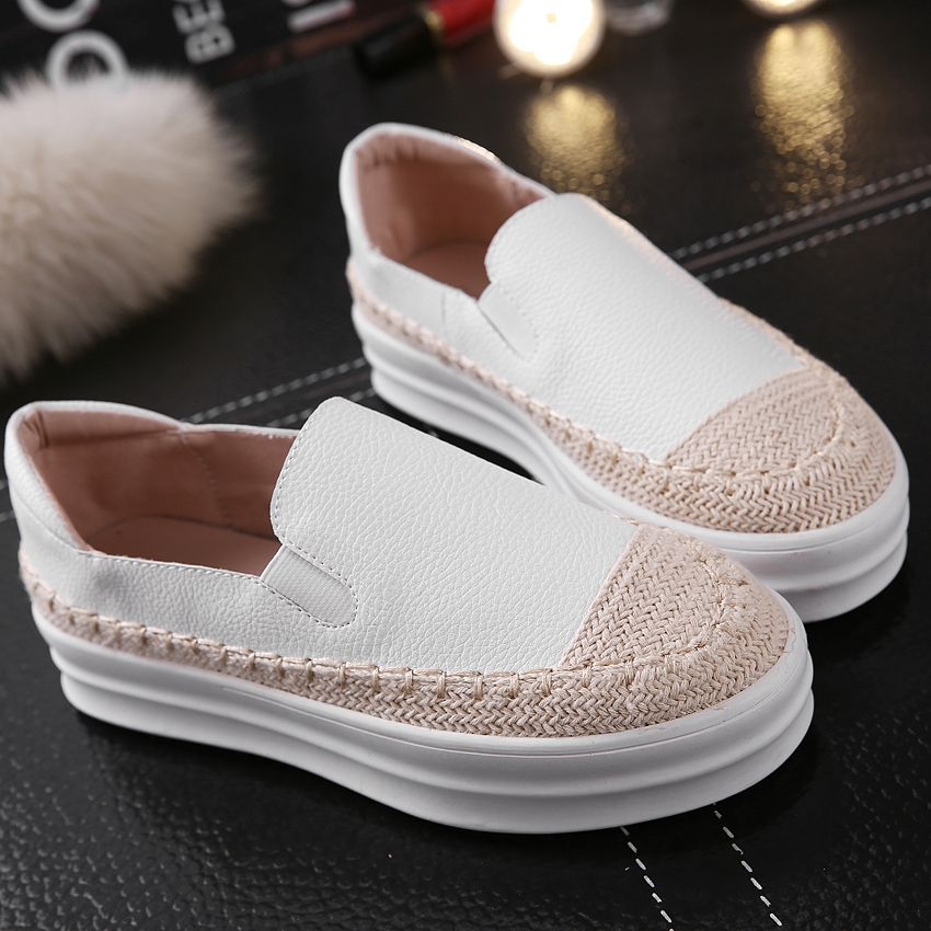 Shoes For Women Platform Round Toe Espadrilles Outdoor Casual Black White
