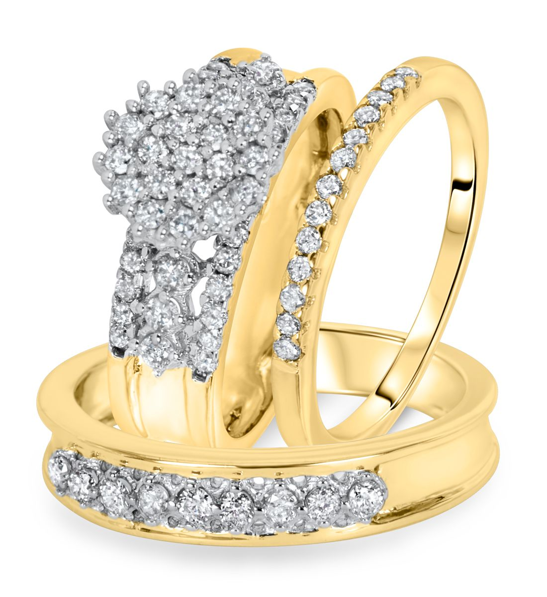 1 Carat Diamond Trio Wedding Ring Set 14k Yellow Gold Wedding Ring Trio Sets Wedding Ring Sets Wedding Rings Sets His And Hers