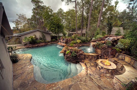 Backyards pools luxury pools garden pools for Custom backyard designs