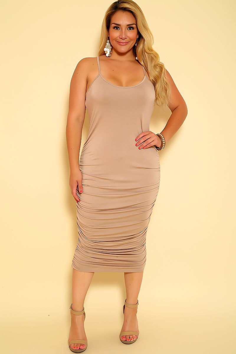 49e9747235b Sexy Taupe Ruched Accent Sleeveless Plus Size Dress