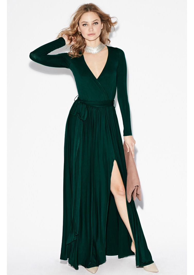 Dark Green Long Sleeve Split Maxi Dress Sheinside Com Vestidos De Manga Larga Vestidos Largos Ropa Elegante