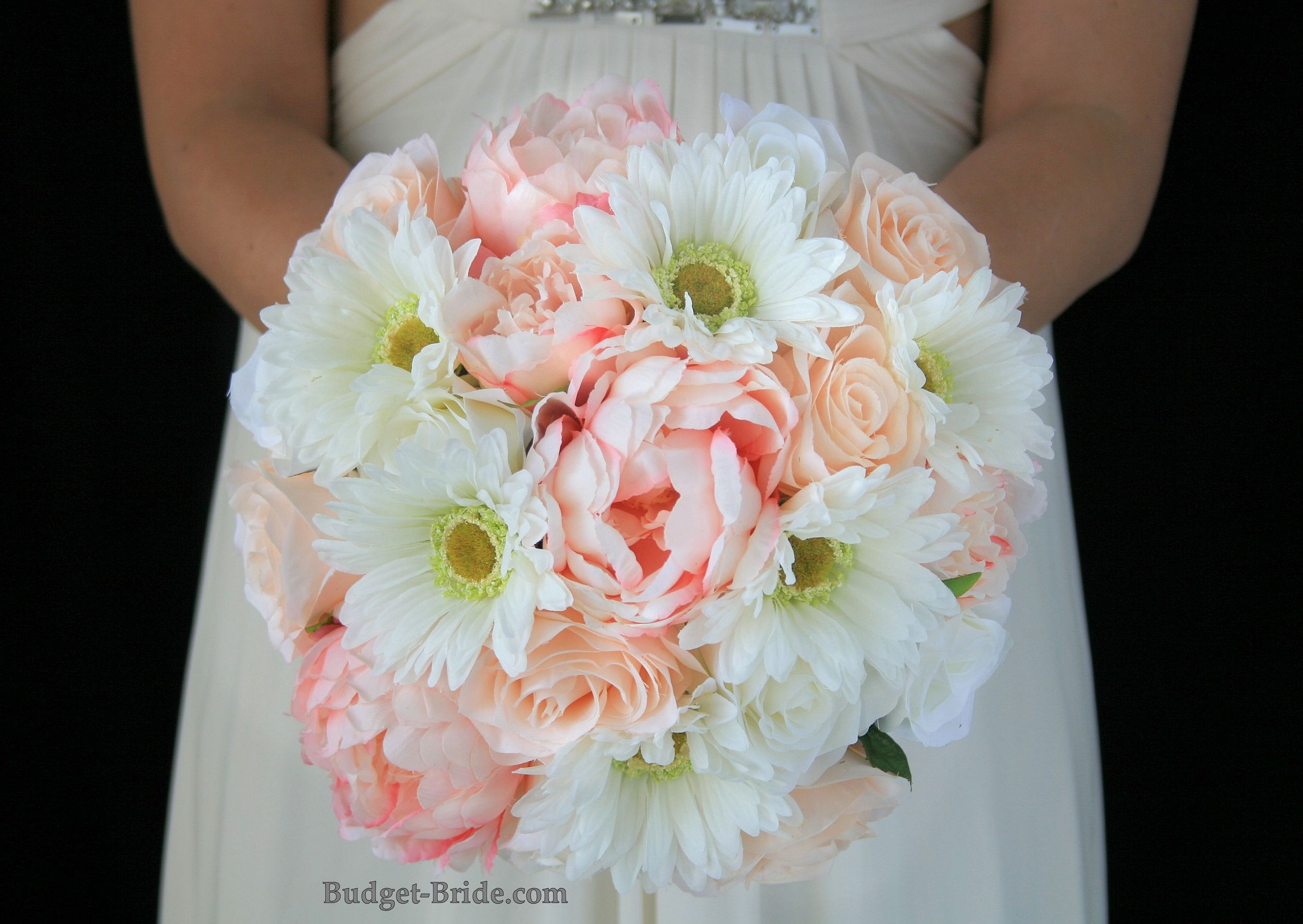 Blush Pink and Peach wedding bouquet accented with white gerbera daisies