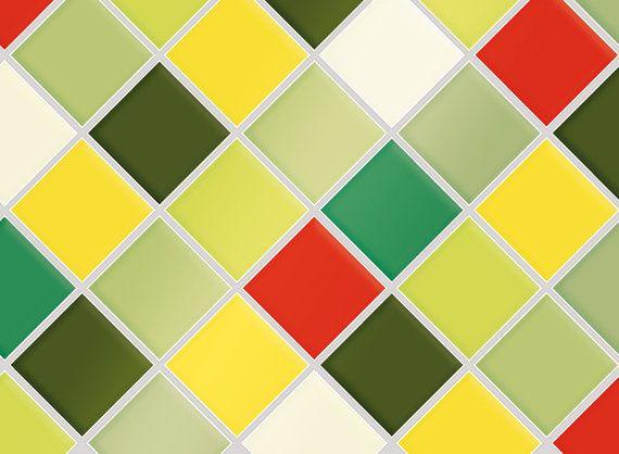 "Kitchen Tile Decal Tile Stickers Set ""Jungle"" for bathroom or kitchen,  Tile Mural, Tile Cover, Tile Coasters"