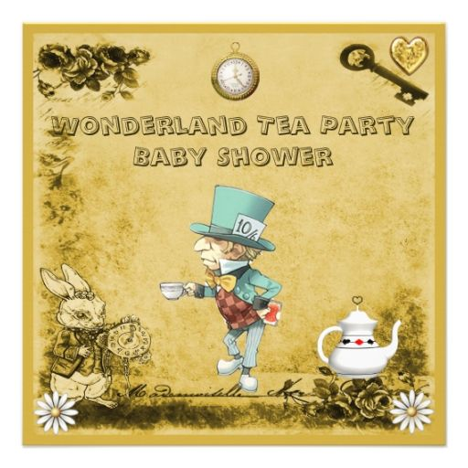 Yellow Mad Hatter Wonderland Tea Party Baby Shower Custom Invites