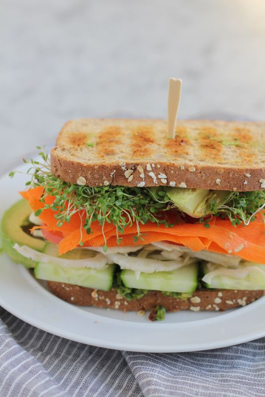 Power up with this healthy, veggie packed Vegan Power Sandwich with Asparagus Pesto! Fresh, filling and flavorful, this veggie sandwich will not disappoint!