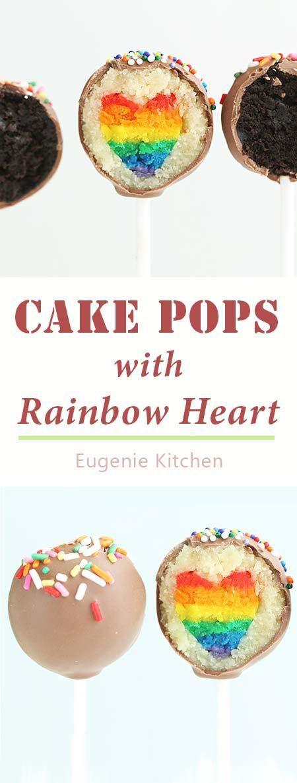 Cake Pops with Hidden Rainbow Heart - Eugenie Kitchen