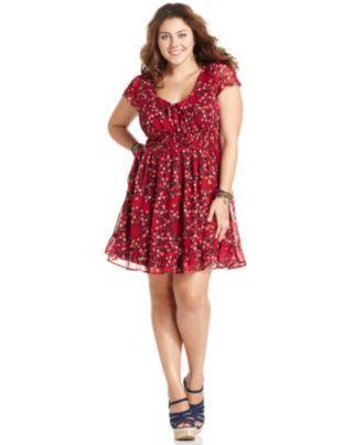 American Rag Plus Size Dress Short Sleeve Floral Print A Line