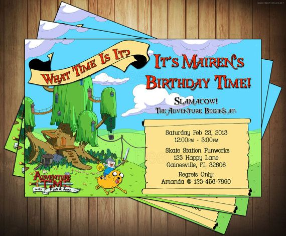 Adventure Time Birthday Party Invitation Novel Concept Designs