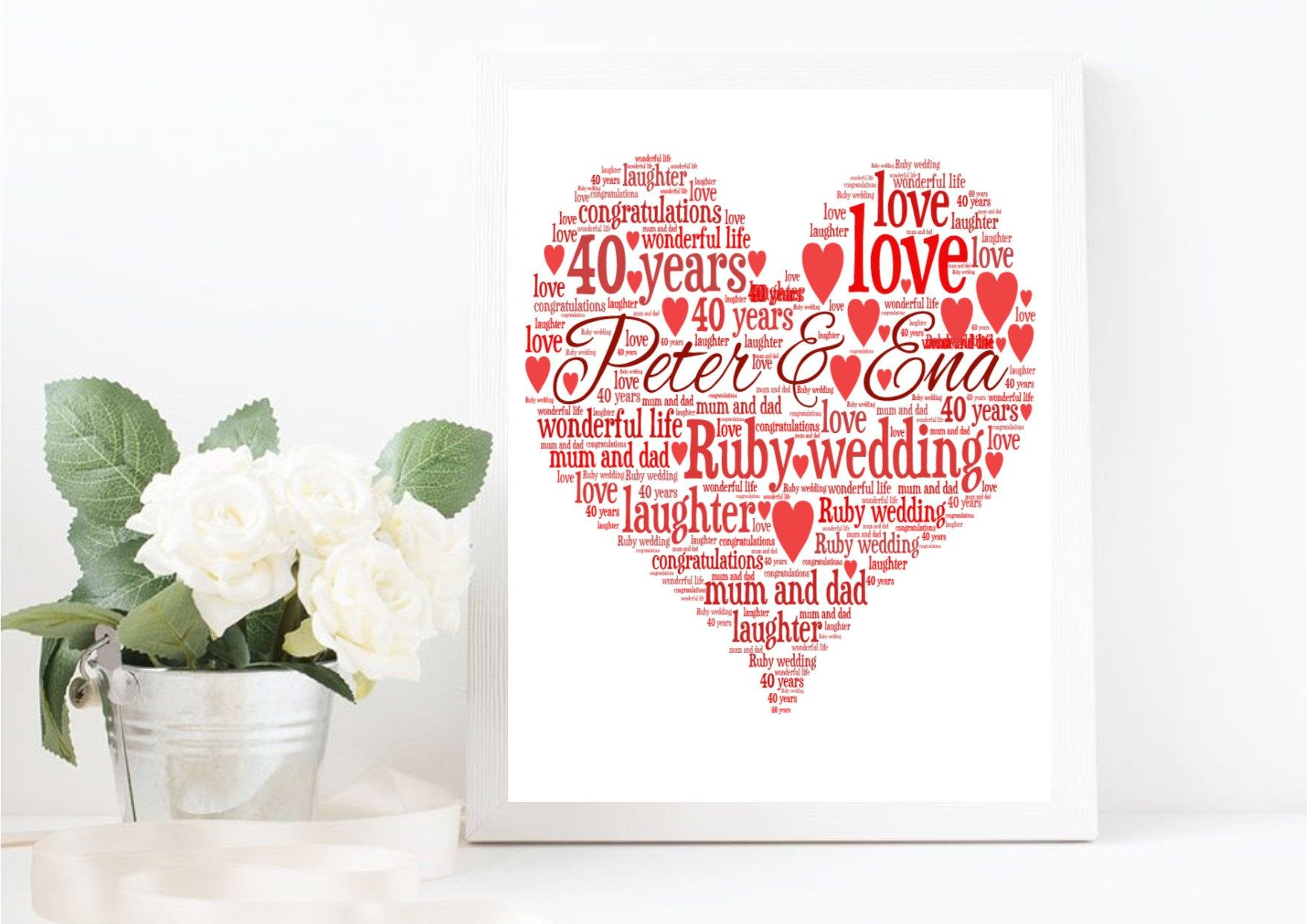 Personalised Ruby Wedding 40 years Heart - Mum & Dad - Parents Word ...