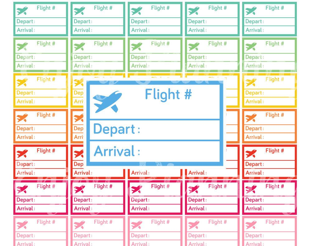 3cacd8279907e Flight Planner Stickers Printable Flight Travel Planner Stickers ...