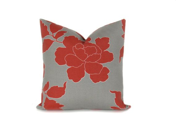 Decorative Outdoor Pillows Gray And Red By Poshstreetpillows 17 00 With Images Outdoor Pillow Covers Decorative Throw Pillow Covers Decorative Throw Pillows