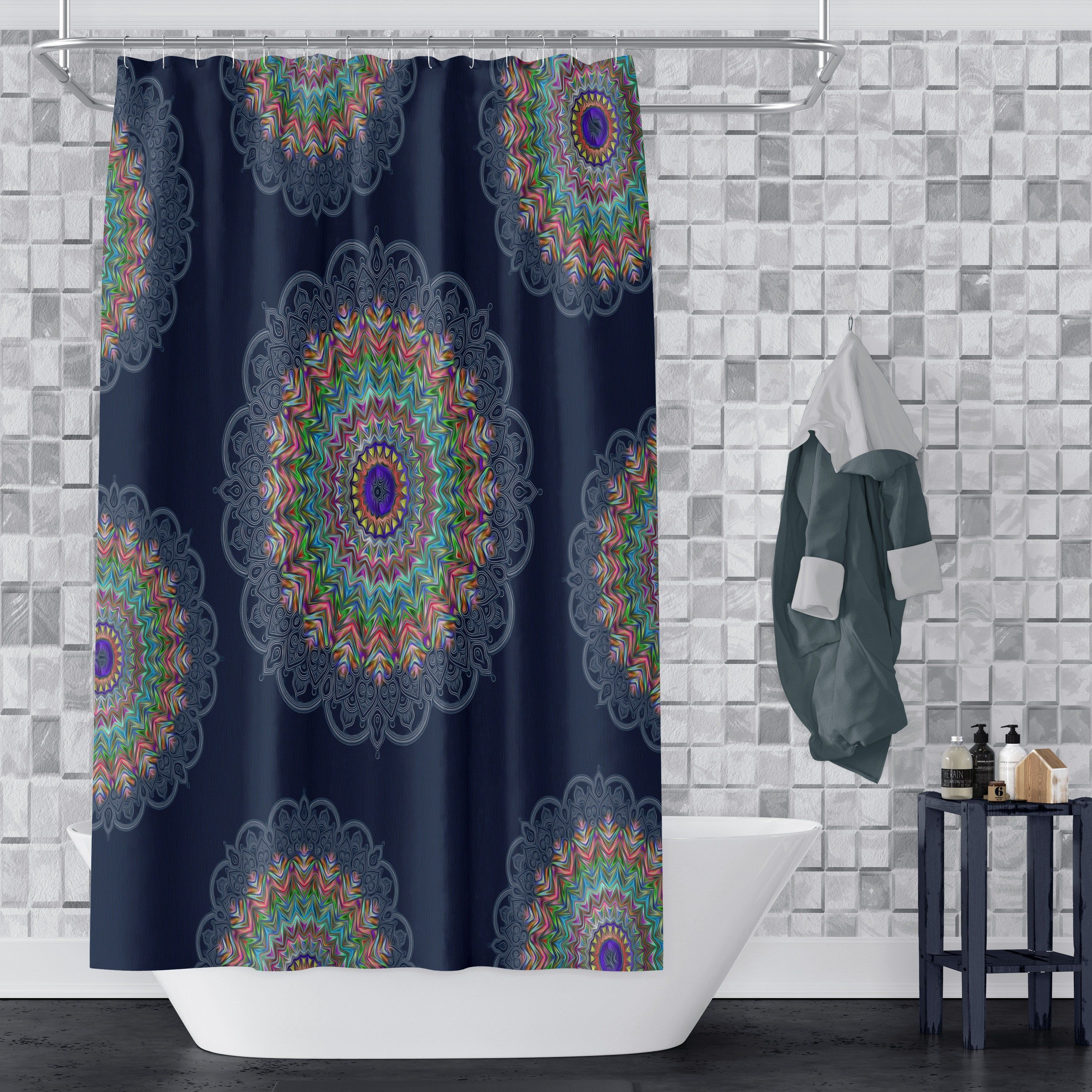 Blue Hippie Mandala Shower Curtain In 2020 Mandala Shower