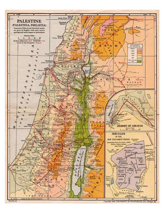 old map of Palestine showing the traveling routes Abraham vintage