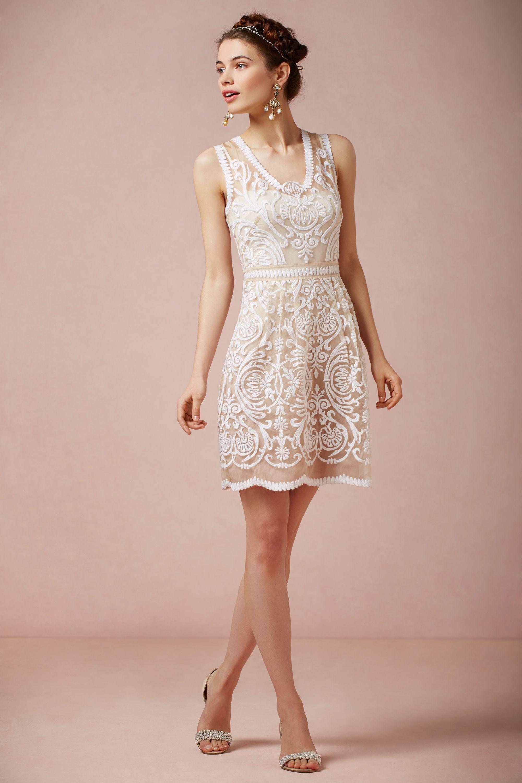 Short white dresses for wedding reception  Cute dress for the rehearsal dinner  BHLDN Jola Dress