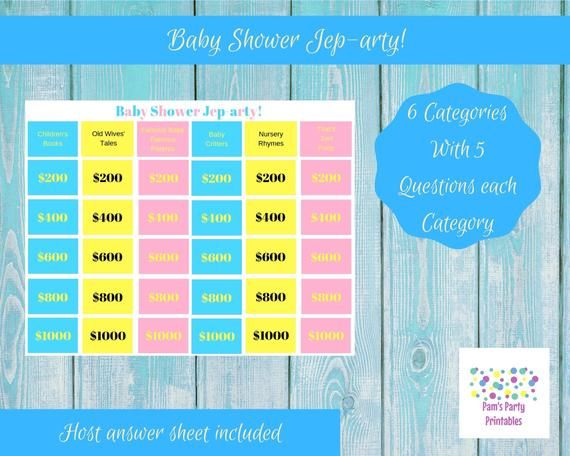 Baby Shower Game  Baby Shower Jep-arty  Printable Game   Etsy