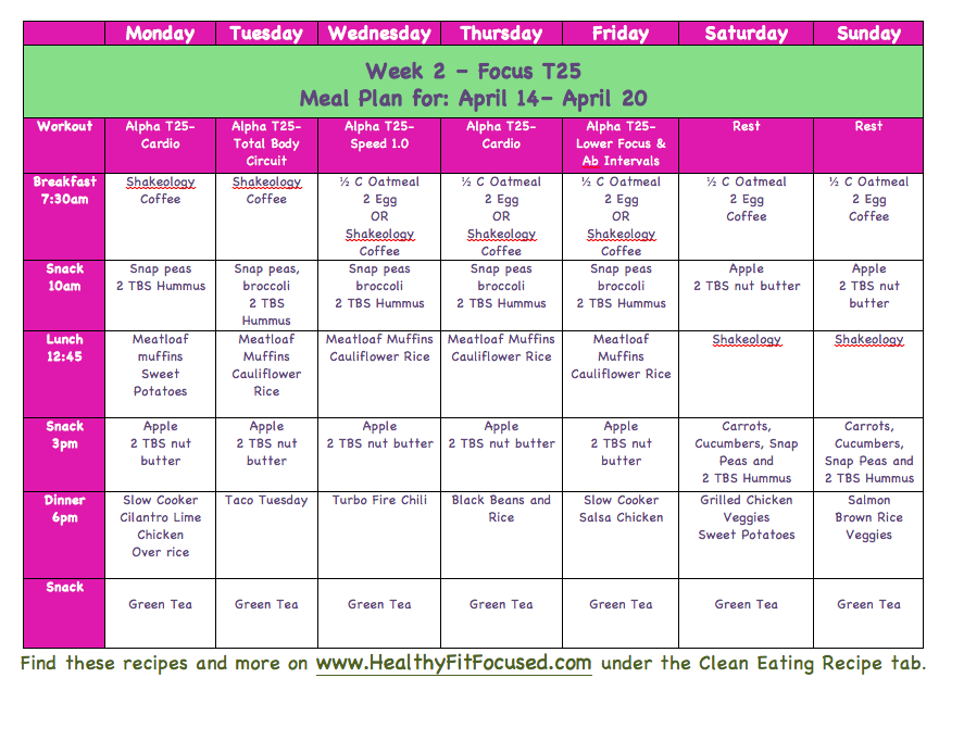 Clean Eating Meal Plan Week  Of Focus T For More Meal Plans