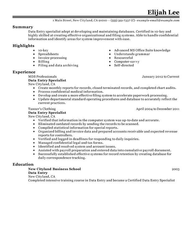 Data Entry Resume Sample Job Hunt Pinterest Data entry, Resume