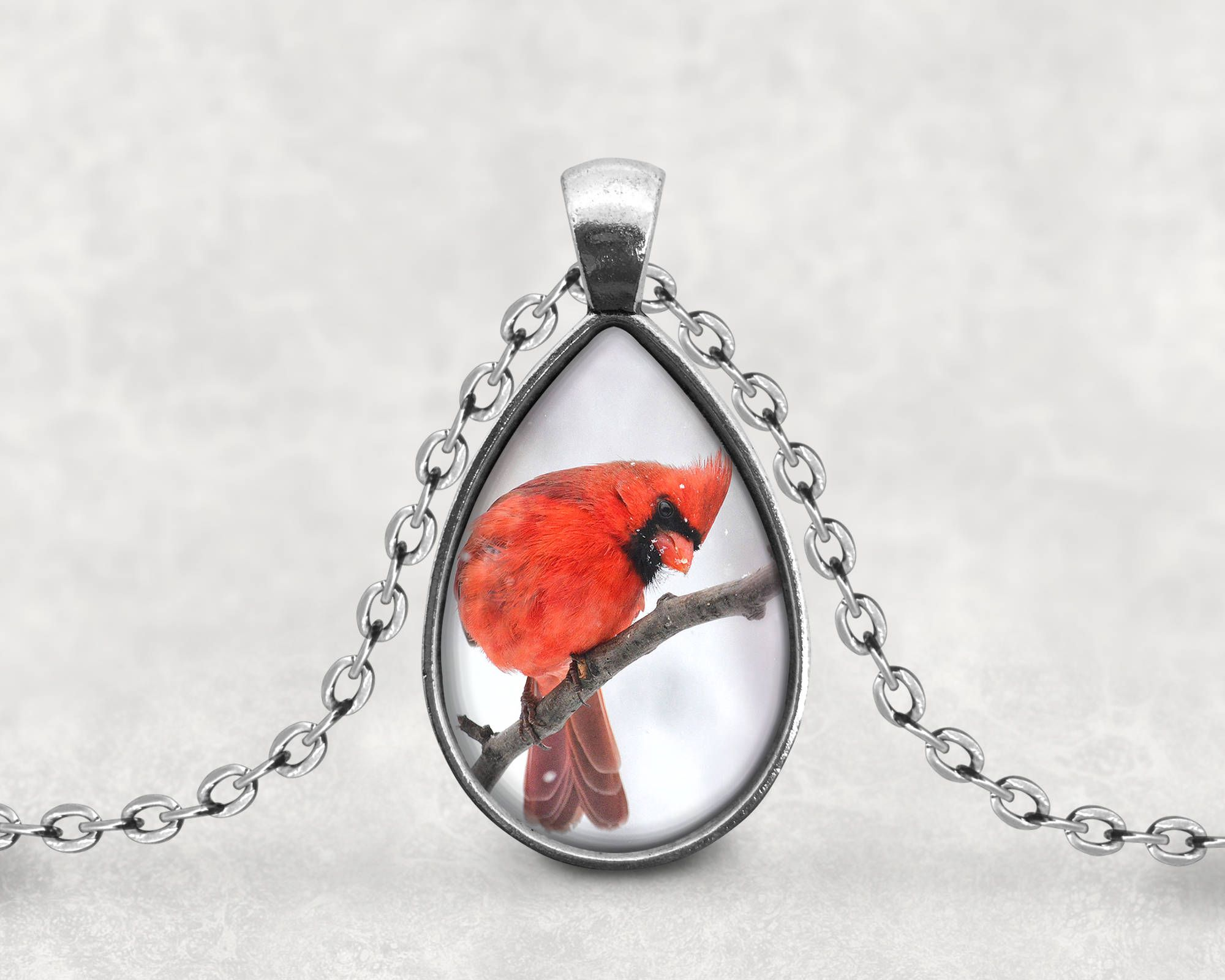 bird gift cardinal red pin pendant on necklace lover long valentine twig jewelry art