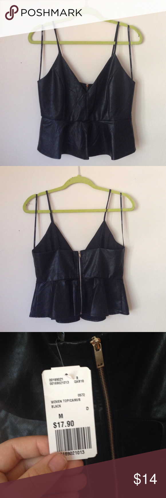 Club faux leather crop v neck peplum top zip back Super cute faux leather clubbing top / festival / health goth look- fully lined - zip up back / peplum / deep v front - adjustable straps- new with tags size medium! Forever 21 Tops Crop Tops