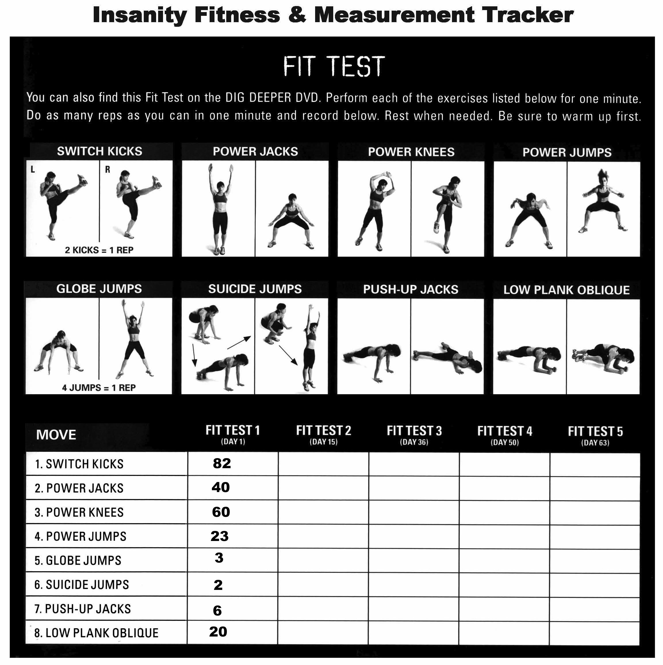 Fit Test Results full circle lifestyle – Insanity Worksheets