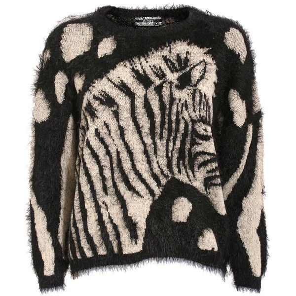 Pilot Hairy Zebra Jumper ($28) ❤ liked on Polyvore featuring tops, sweaters, black, knitwear, zebra print top, round neck sweater, zebra sweater, zebra jumper and long sleeve jumper