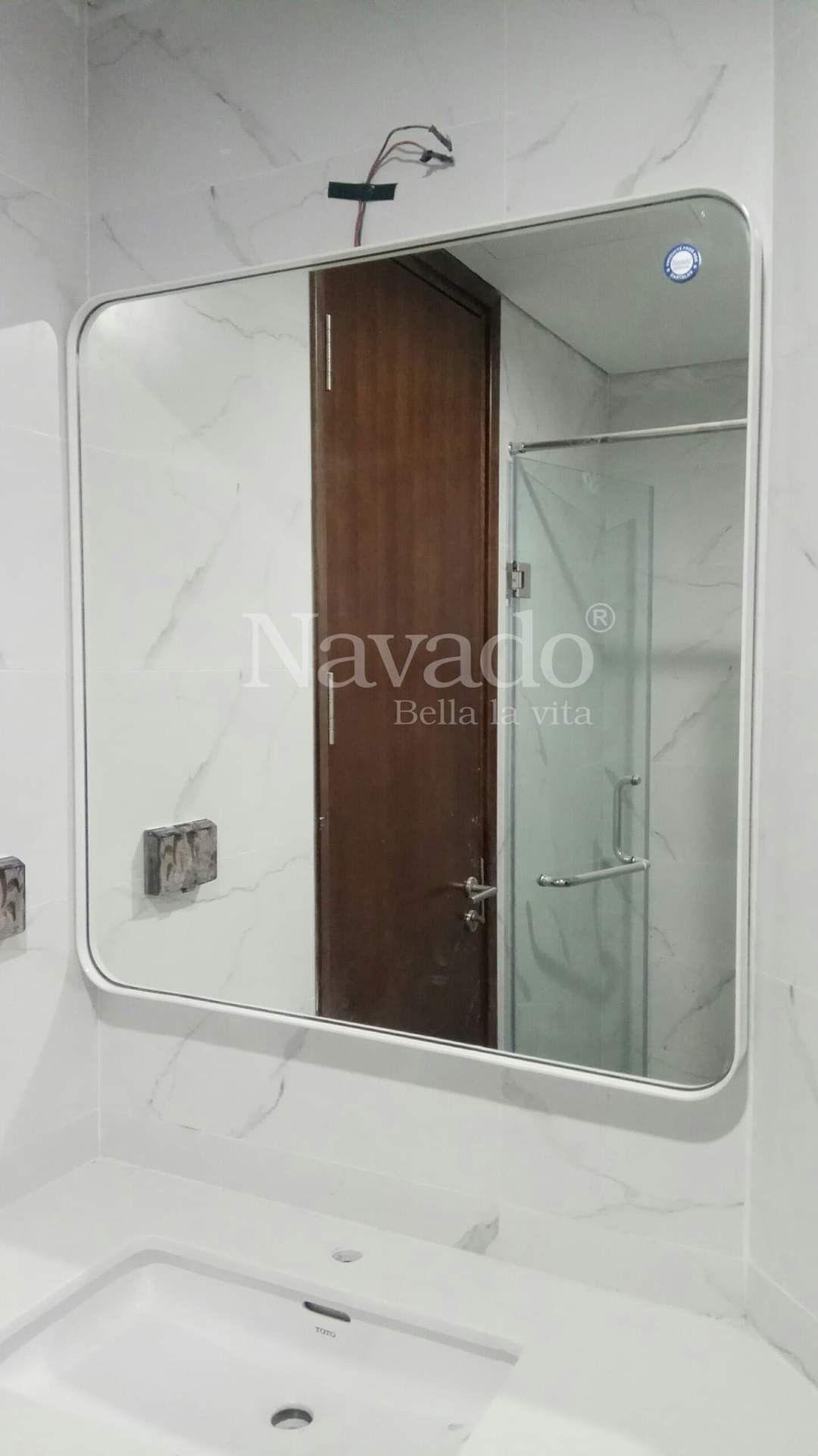 Bathroom mirror white steel frame