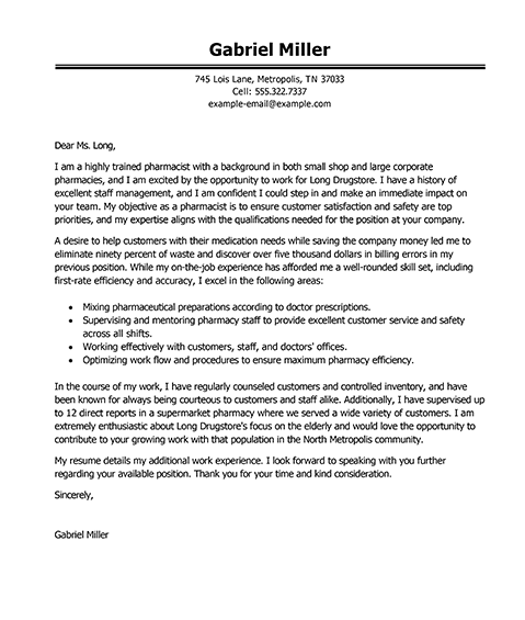 Resume Example Pharmacist Example Cover Letters  Best Example