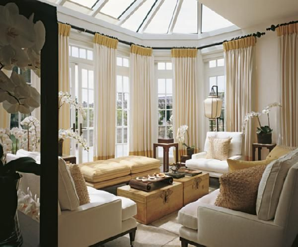 wondering if i should do some dramatic curtains in the sunroomdining room instead of - Sunroom Dining Room