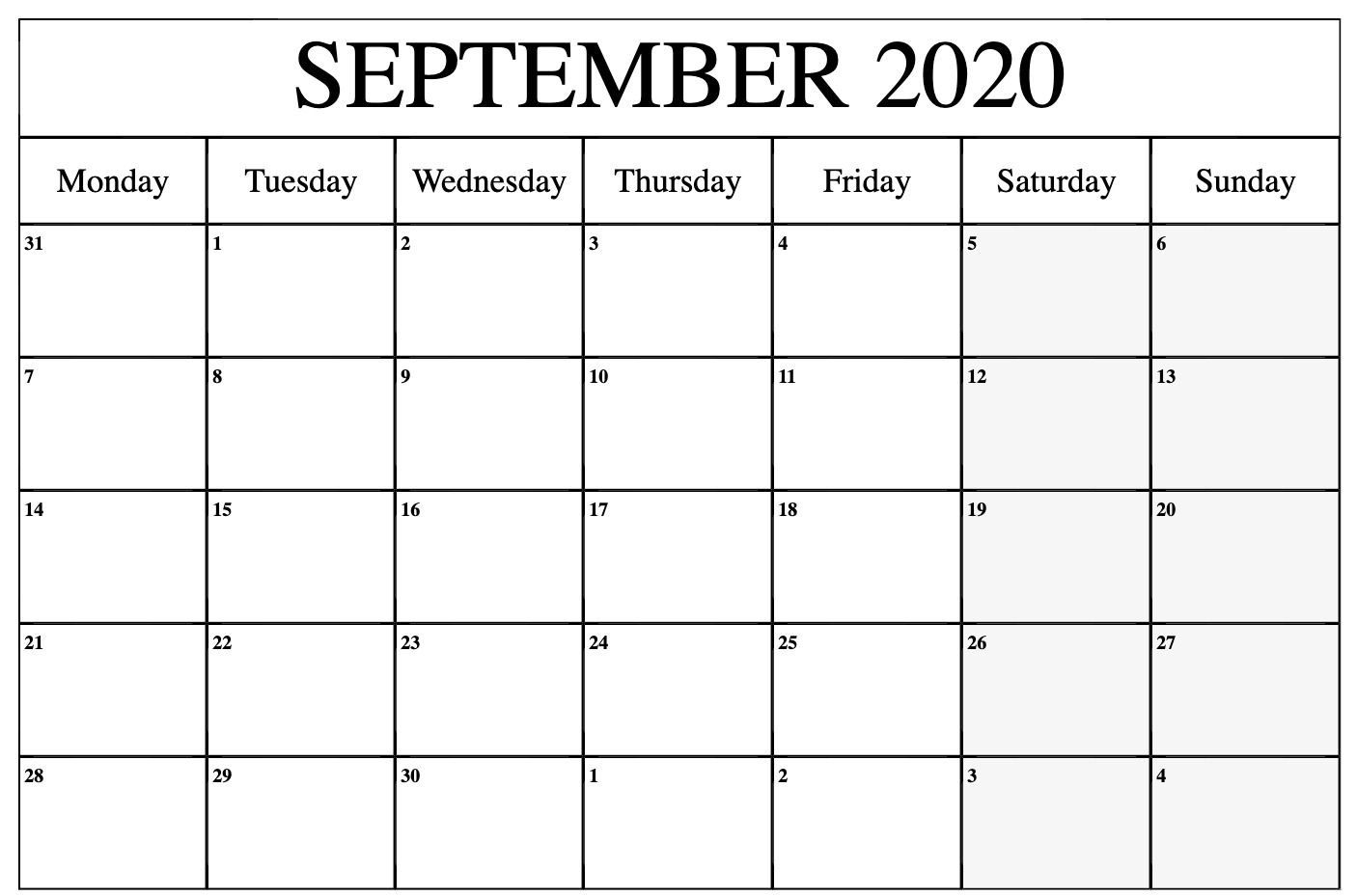 September 2020 Calendar Printable Template In Pdf Word Excel