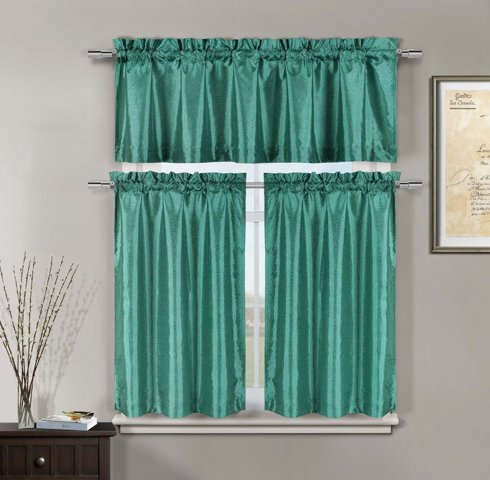 Floral Mettalic Dot Kitchen Window Curtain Tier & Valance Swag Set ...