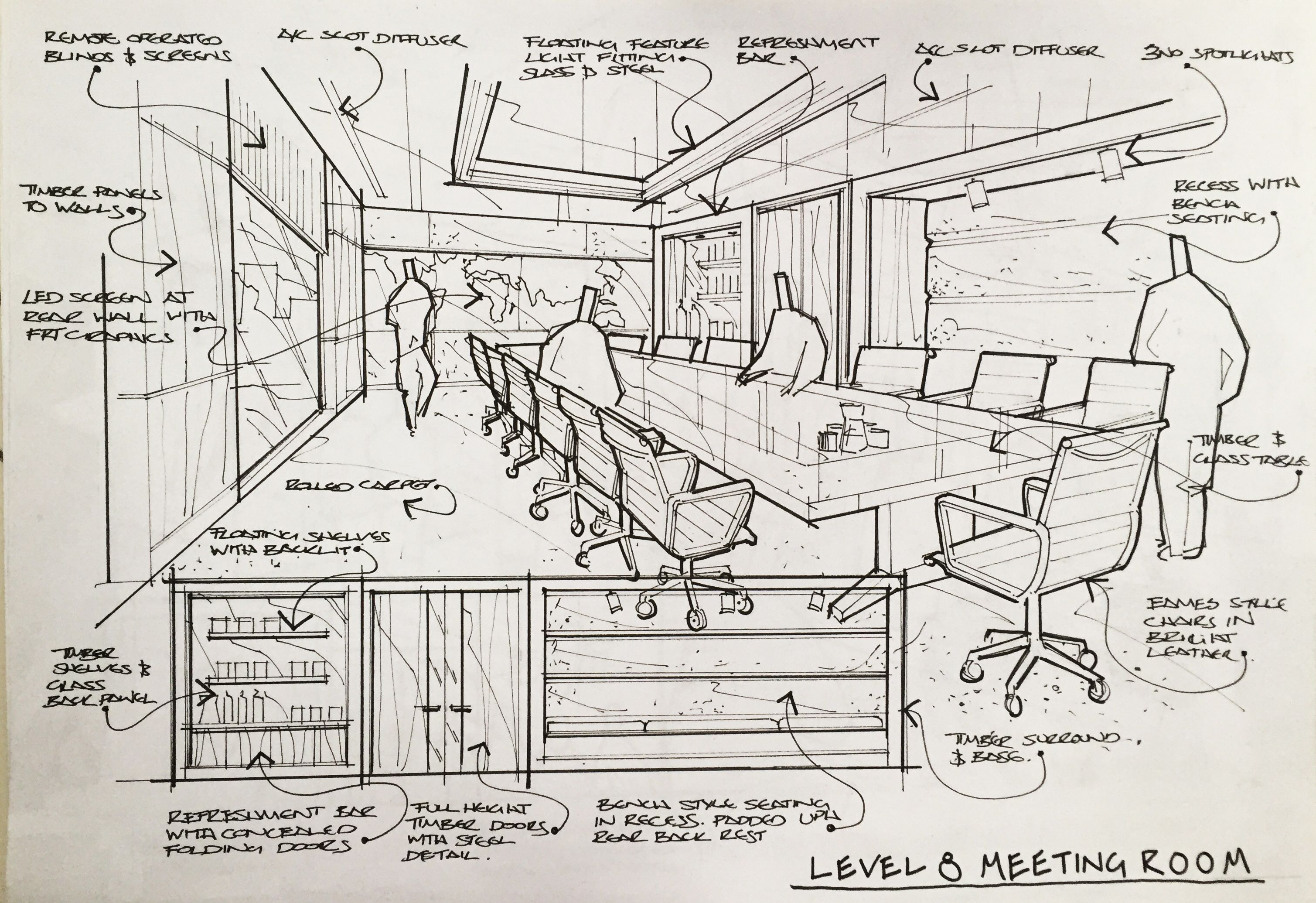 Interior Perspective Drawing Architecture
