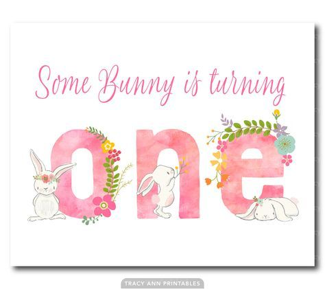 Bunny Birthday Sign, Some Bunny is turning one!, Girl 1st Birthday, Rabbit Party Decor, Printable Birthday Sign. 1516pink by TracyAnnPrintables on Etsy https://www.etsy.com/au/listing/491348398/bunny-birthday-sign-some-bunny-is